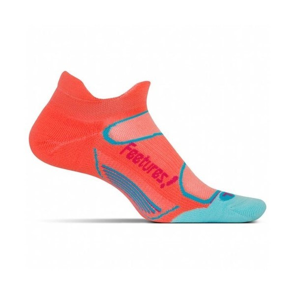 Feetures Elite Light Cushion No Show Tab - Womens Running Socks - Coral/Deep Pink