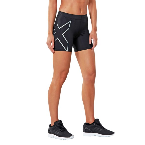 2XU 5 Inch Womens Compression Shorts - Black/Silver