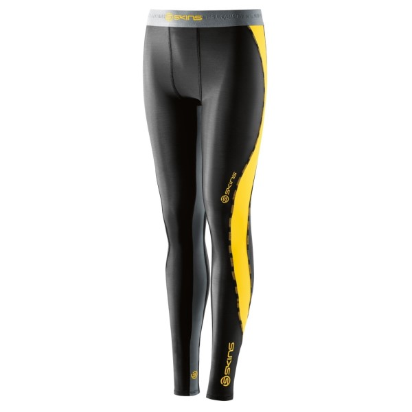 Skins DNAmic Youth Kids Compression Long Tights - Black/Citron