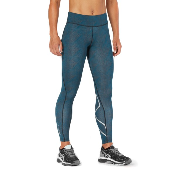 2XU Mid-Rise Print Womens Full Length Compression Tights - Moroccan Blue/Silver