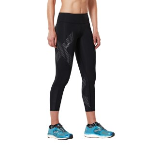 2XU Womens Motion Mid-Rise 7/8 Compression Tights - Black/Dotted Reflective Logo