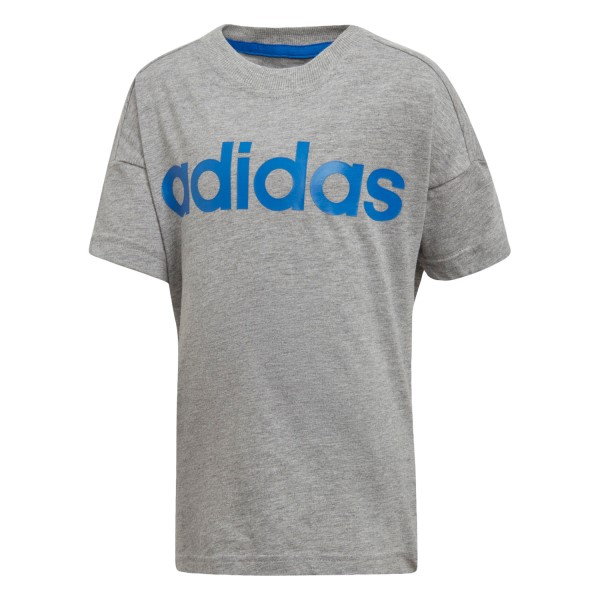 Adidas Little Kids Linear Training T-Shirt - Medium Grey Heather/Blue