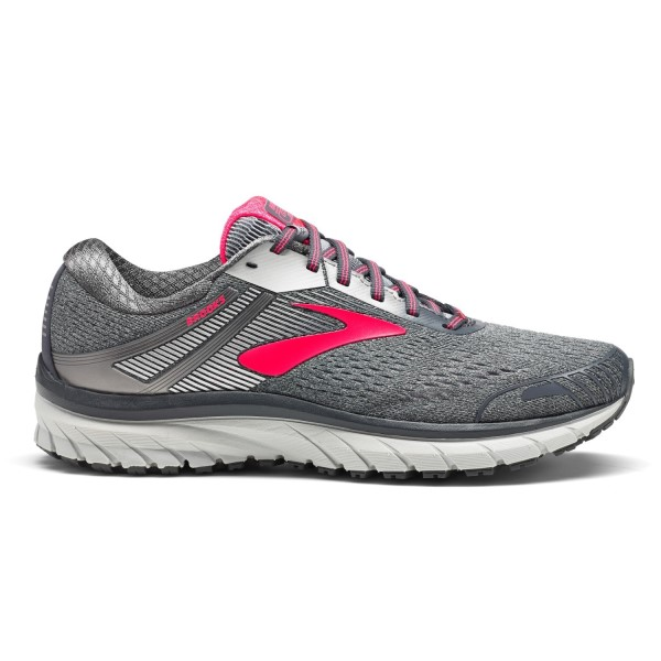Brooks Adrenaline GTS 18 - Womens Running Shoes - Ebony/Silver/Pink