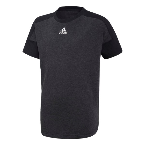 Adidas Stadium Kids Boys Casual T-Shirt - Black Melange/Black