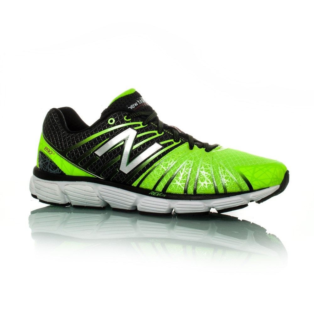 new balance 890v5 mens running shoes black lime green