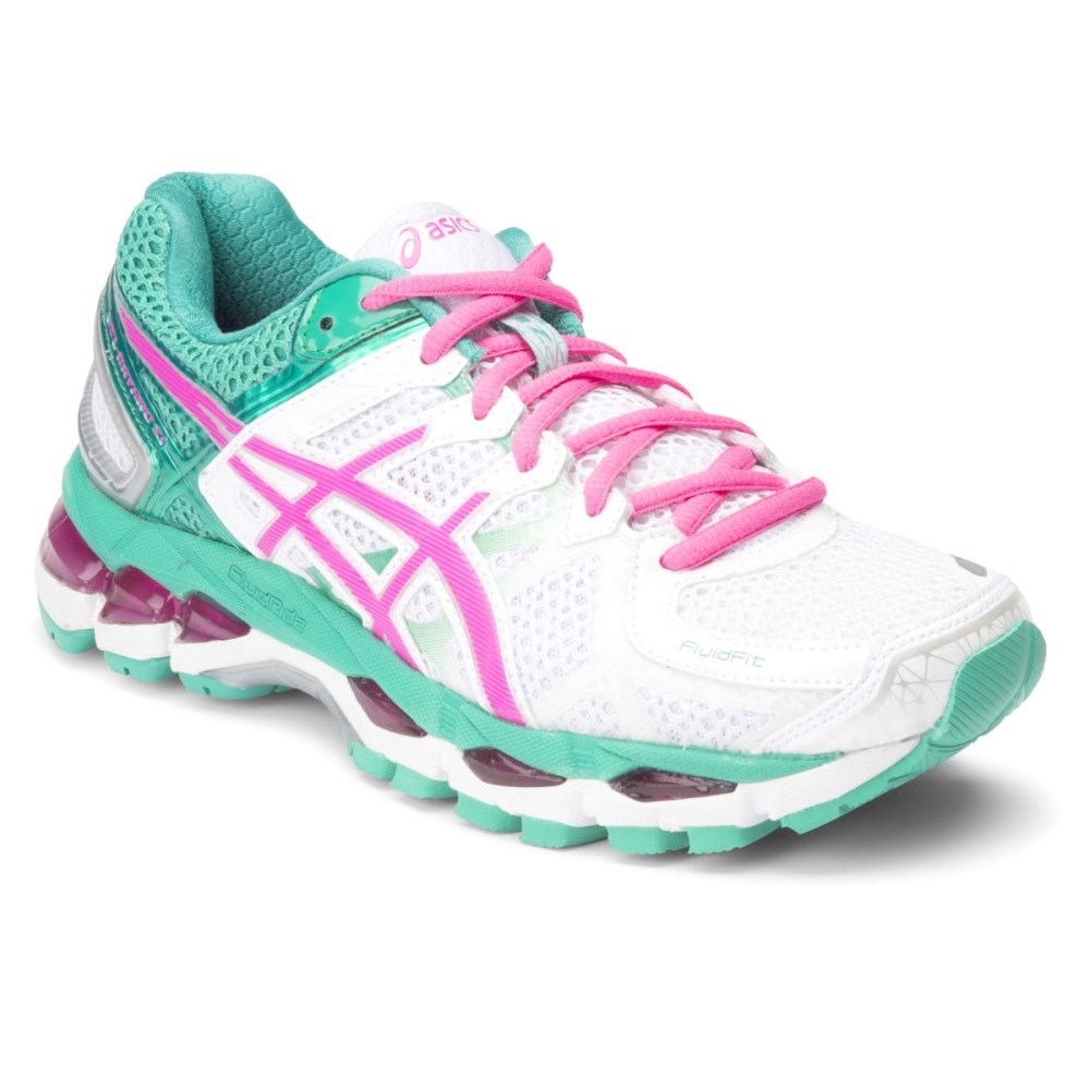 asics gel kayano 21 womens running shoes white hot pink emerald online sportitude. Black Bedroom Furniture Sets. Home Design Ideas