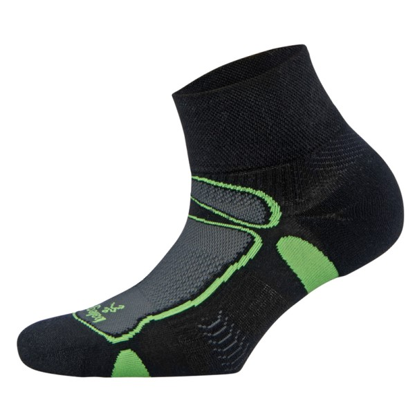 Balega Ultra Light Quarter Unisex Running Socks - Black/Neon Lime