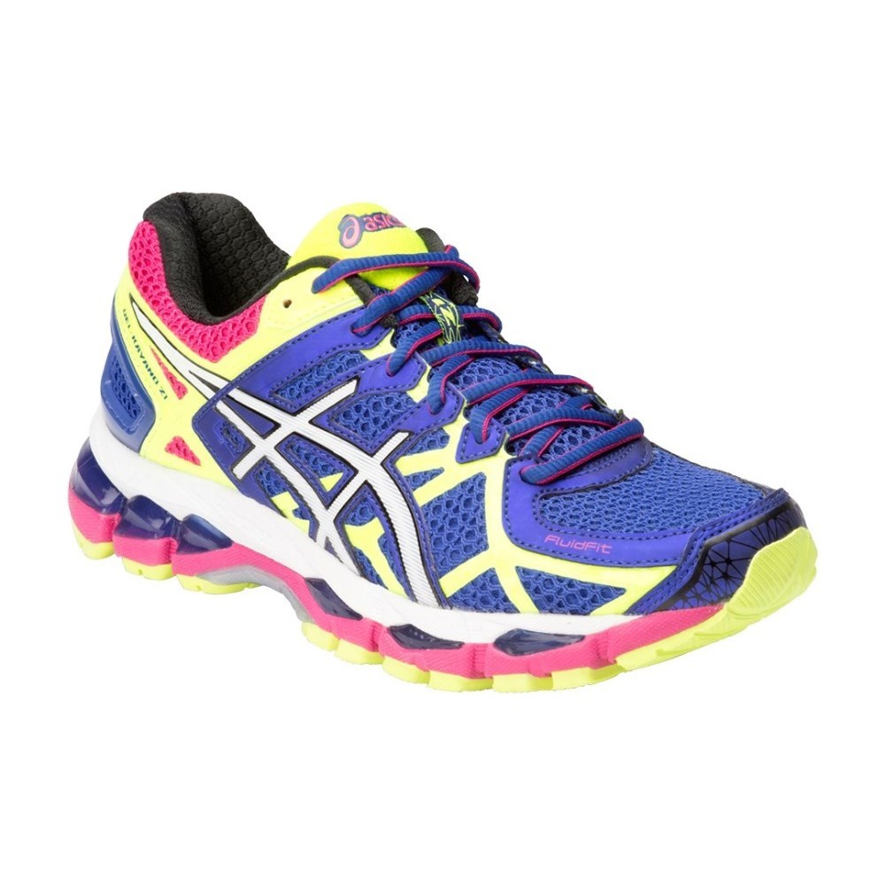 df2d88793af37 Asics Gel Kayano 21 - Womens Running Shoes - Blue/White/Flash Yellow ...