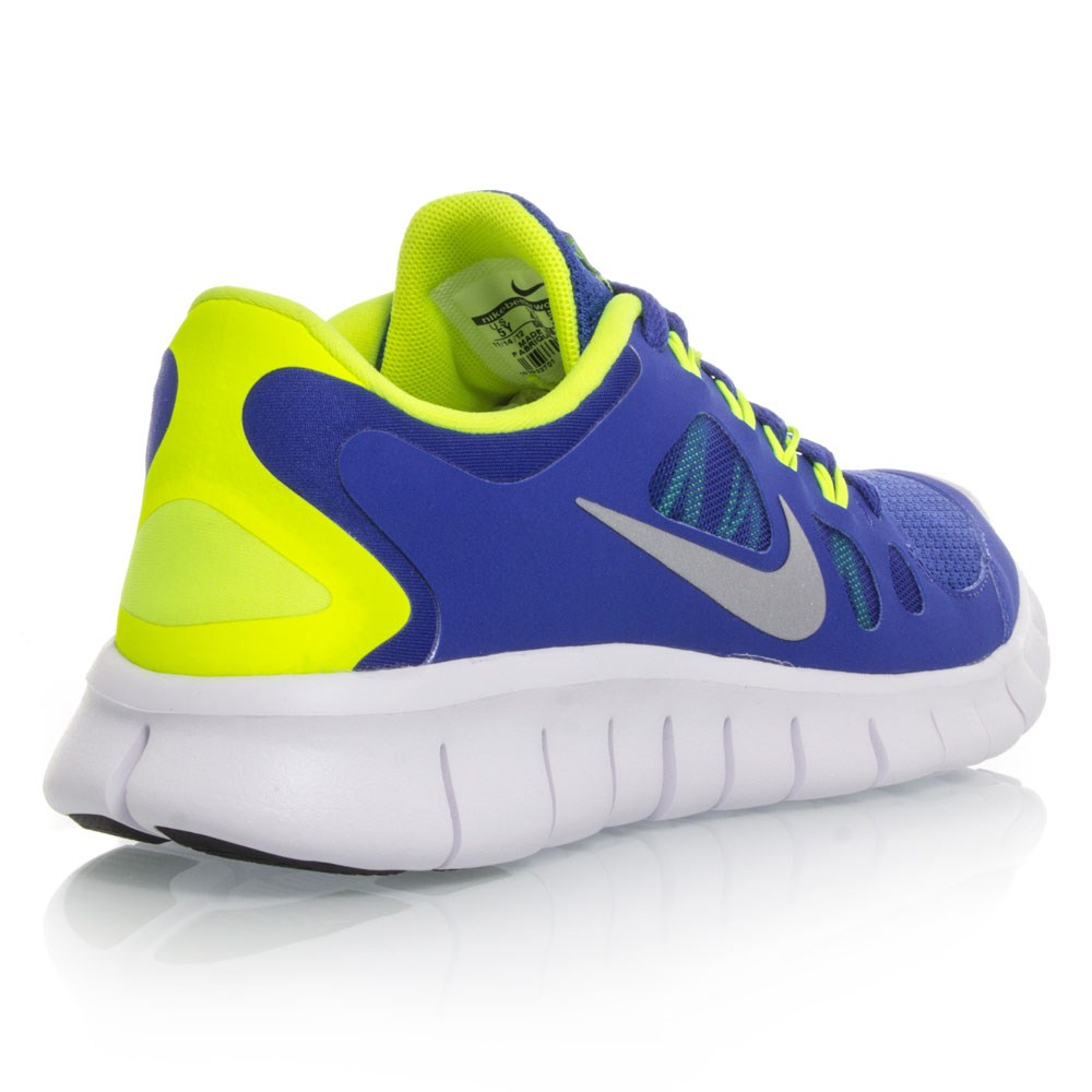Nike Free 5.0 GS - Boys Kids Running Shoes - Blue/Yellow ...