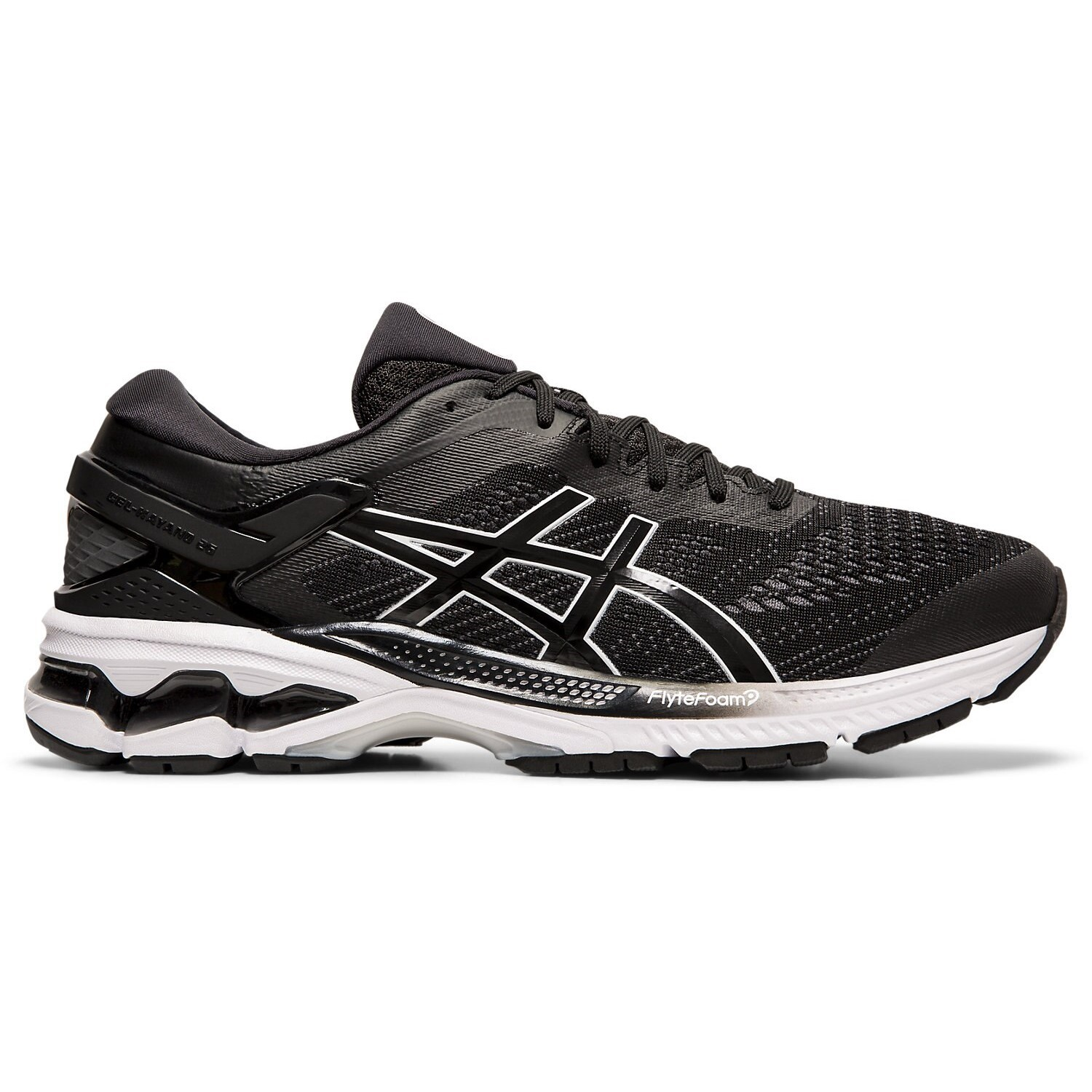 128fca2ba61 Asics Gel Kayano 26 - Mens Running Shoes + Free Lightfeet Socks -  Black/White