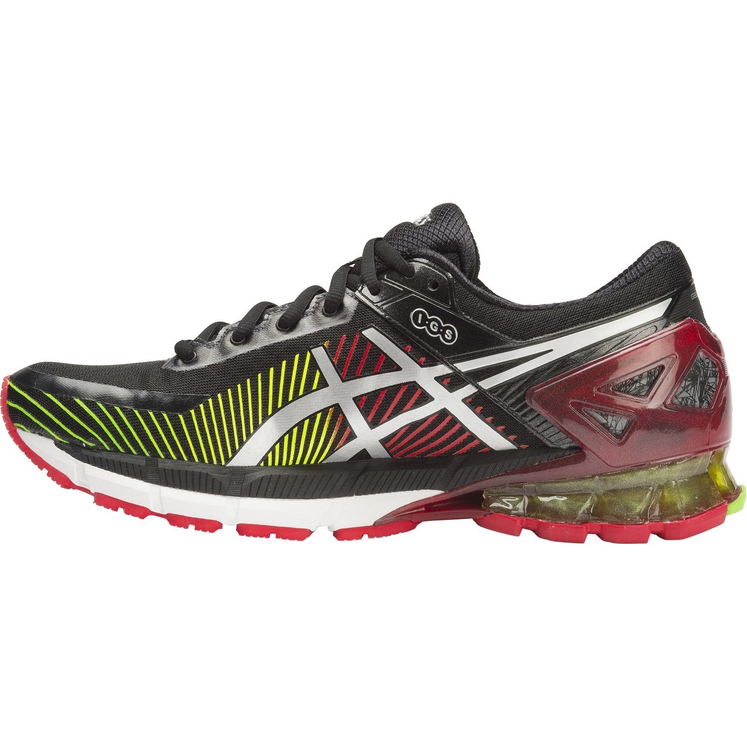 asics kinsei 6 mens running shoes black silver red. Black Bedroom Furniture Sets. Home Design Ideas
