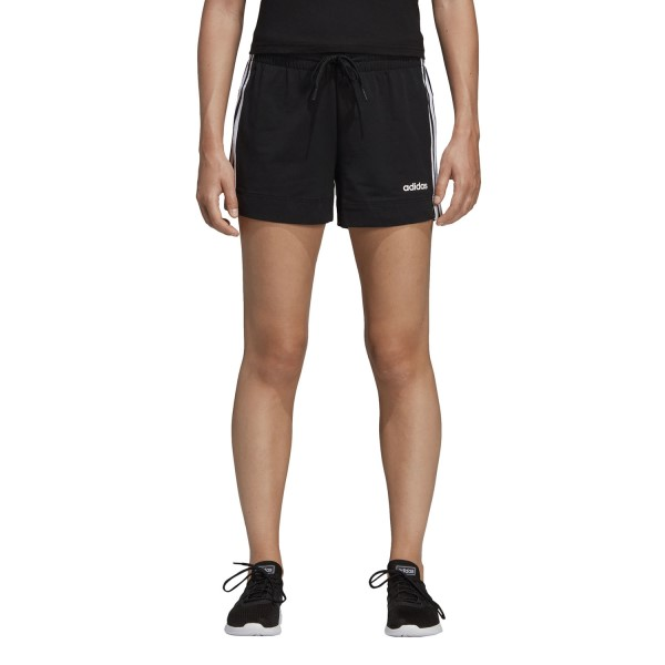 Adidas Essentials 3-Stripe Womens Cotton Shorts - Black/White