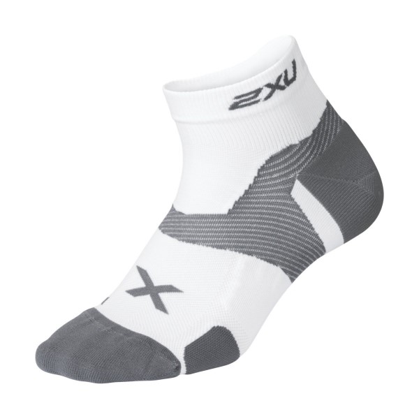 2XU Vectr Cushion 1/4 Crew - Unisex Running Socks - White/Grey