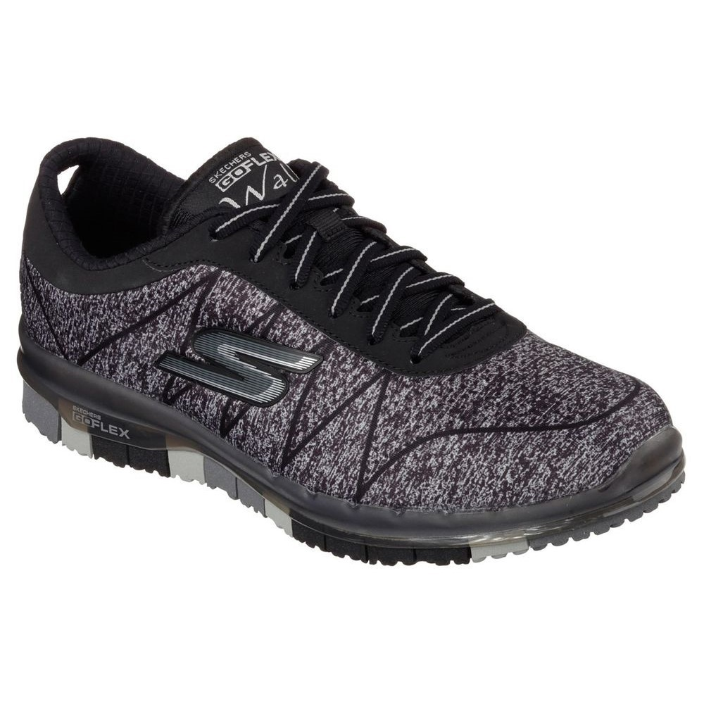skechers go flex walk ability womens walking shoes black grey online sportitude. Black Bedroom Furniture Sets. Home Design Ideas