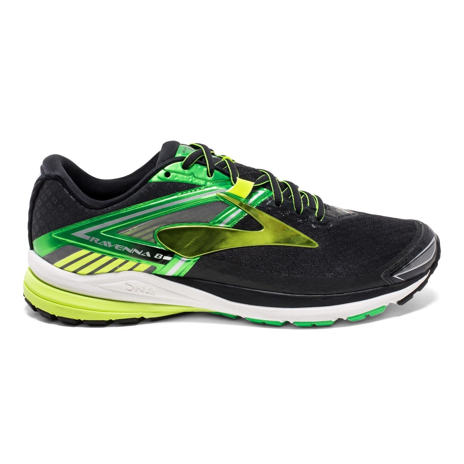 08053a6a7a2 Brooks Ravenna 8 - Mens Running Shoes - Black Green Nightlife Online ...