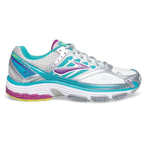 Brooks Liberty 9 Leather - Womens Cross Training Shoes - Silver/Purple Wine/Blue Bird