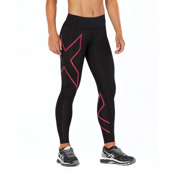 2XU Mid-Rise Womens Full Length Compression Tights - Peacock Pink