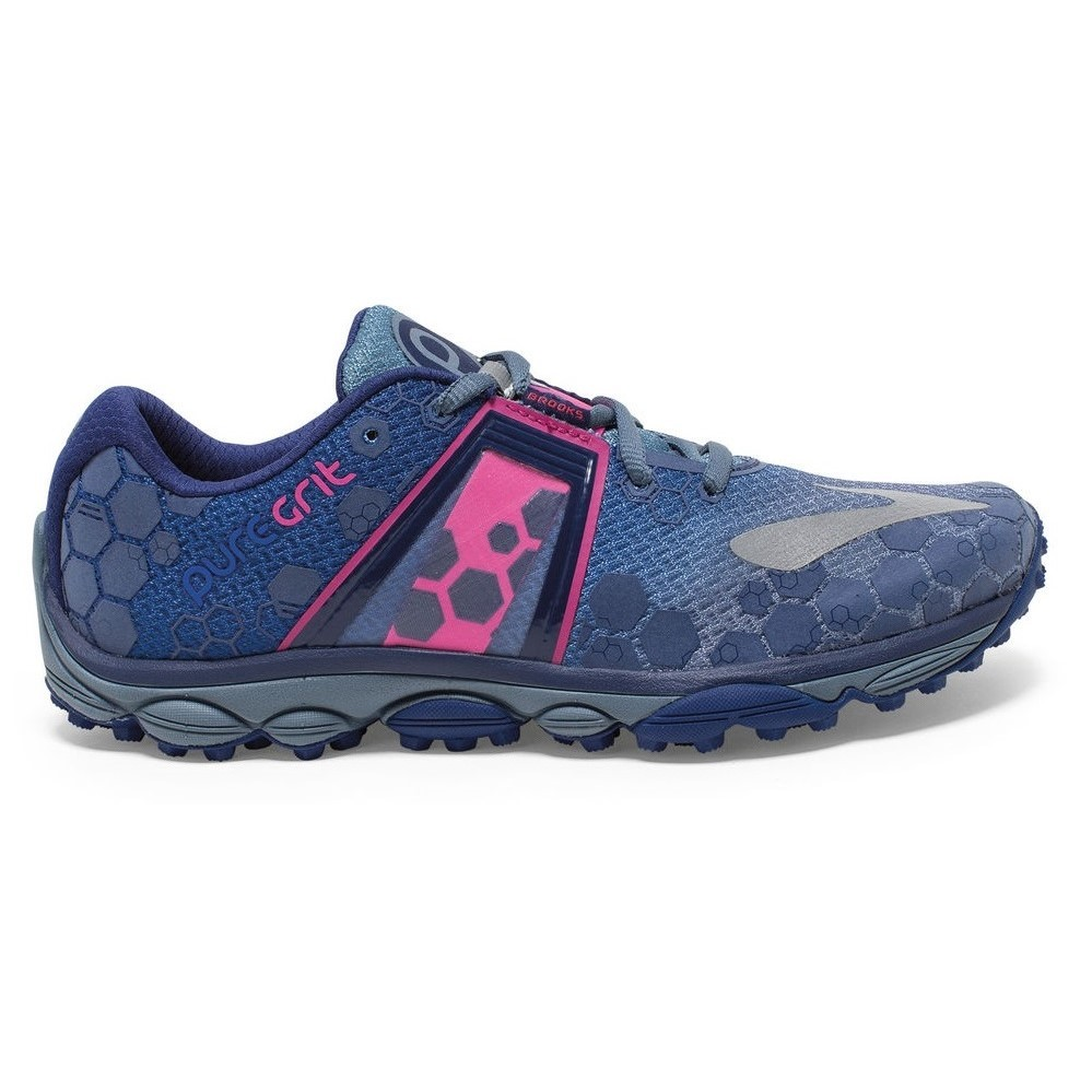 f423e296a12 Brooks PureGrit 4 - Womens Trail Running Shoes - Blue Blue Print Pink