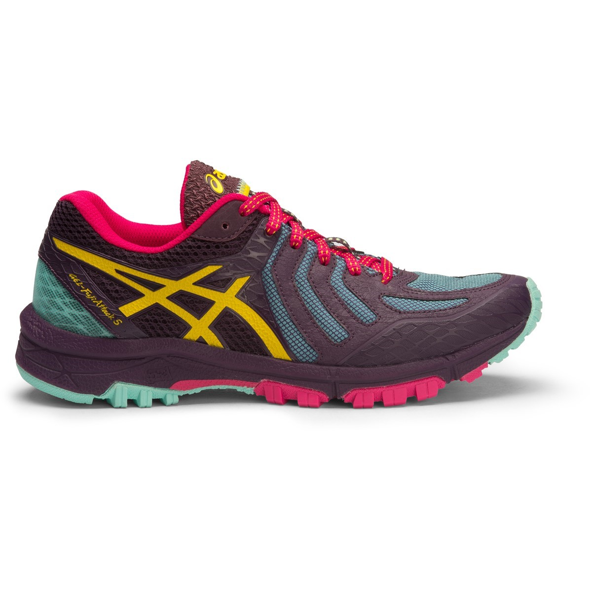 Asics Gel Fuji Attack 5 - Womens Trail Running Shoes - Eggplant/Lemon/Aruba