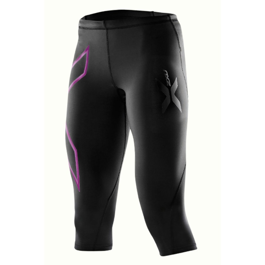New 2XU Mid Rise Womens Fitted Compression Running Sports Tights Bottoms