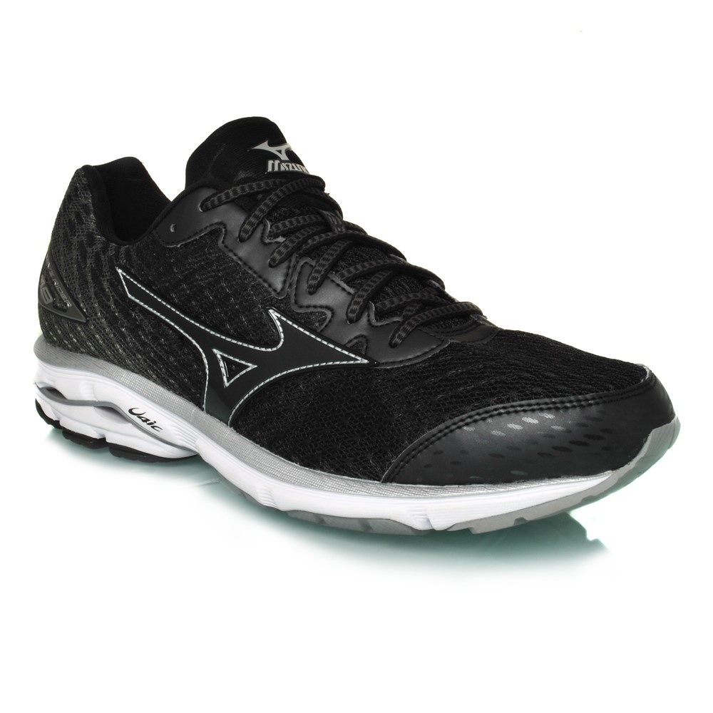 mizuno wave rider 19 mens running shoes black white online sportitude. Black Bedroom Furniture Sets. Home Design Ideas