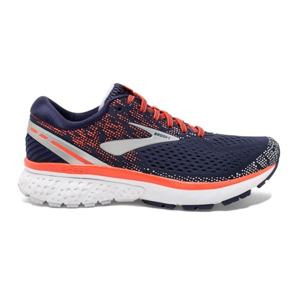 Brooks Ghost 11 - Womens Running Shoes - Navy/Coral/Grey