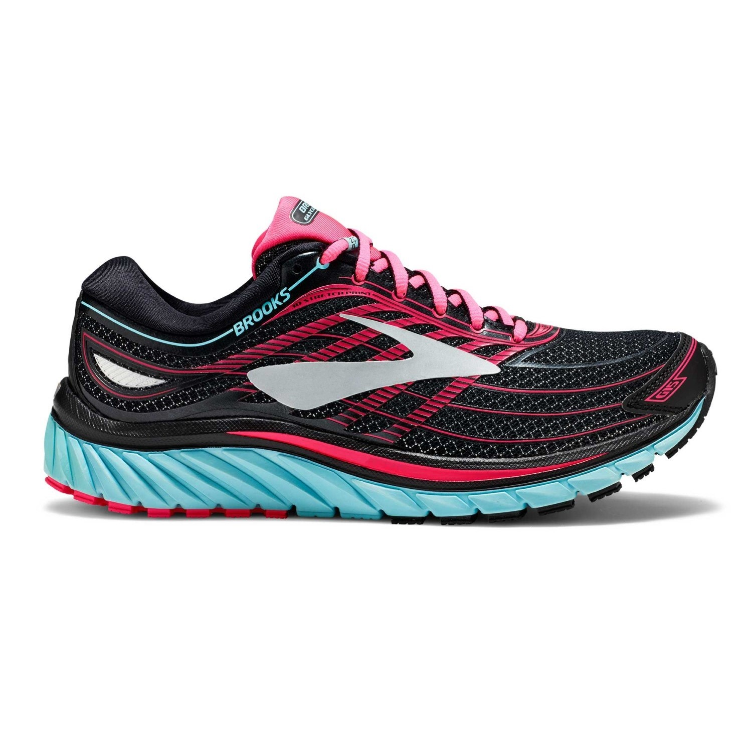 7c4cc36586774 Brooks Glycerin 15 - Womens Running Shoes - Black Island Blue Diva Pink