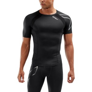 2XU Mens Compression Short Sleeve Top - Black/Silver