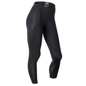 2XU Womens Motion Mid-Rise 7/8 Compression Tights - Black/Dotted Black Logo