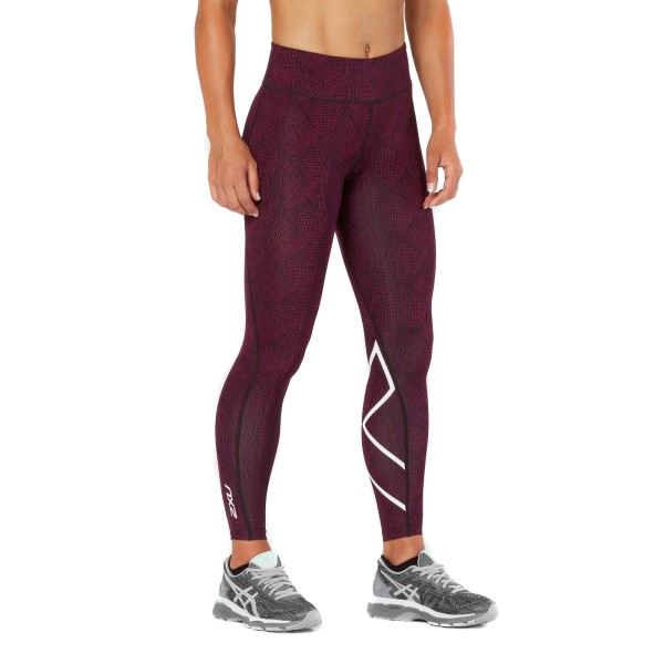 2XU Mid-Rise Print Womens Full Length Compression Tights - Dark Charcoal/Peacock Pink/White