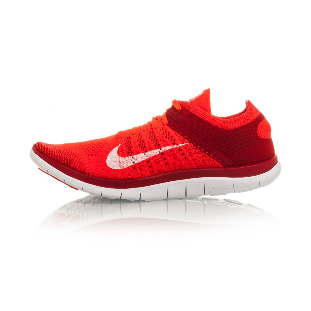 Nike Free Flyknit 4.0 - Mens Running Shoes - Crimson/White ...
