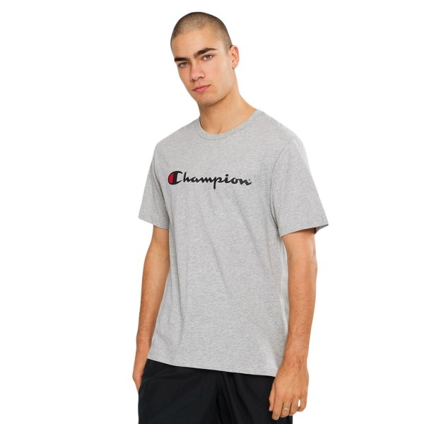 Champion Script Mens Short Sleeve T-Shirt - Oxford Heather