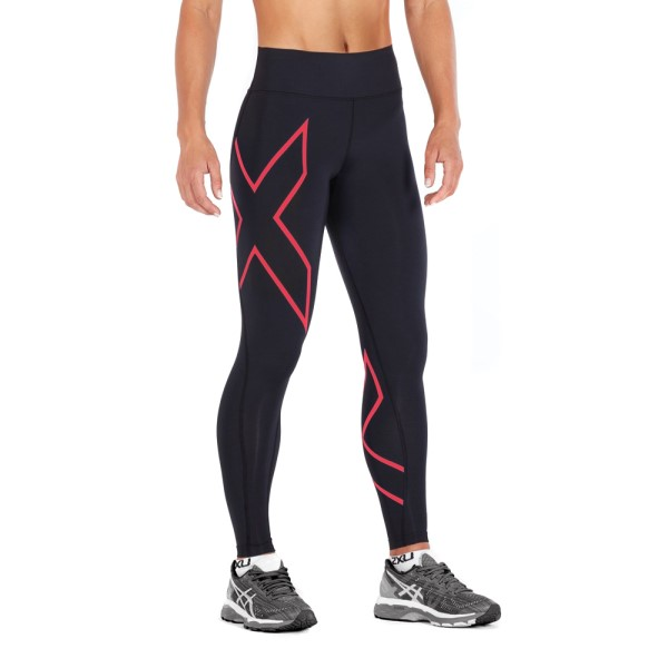 2XU Bonded Mid-Rise Womens Compression Tights - Hibiscus/Black