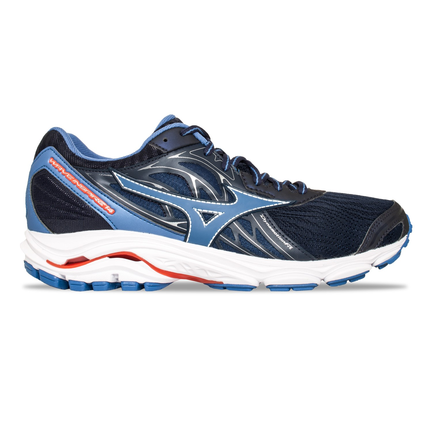 quality design 79ead b9b5e Mizuno Wave Inspire 14 - Mens Running Shoes - Evening Blue Delft Tomato Red