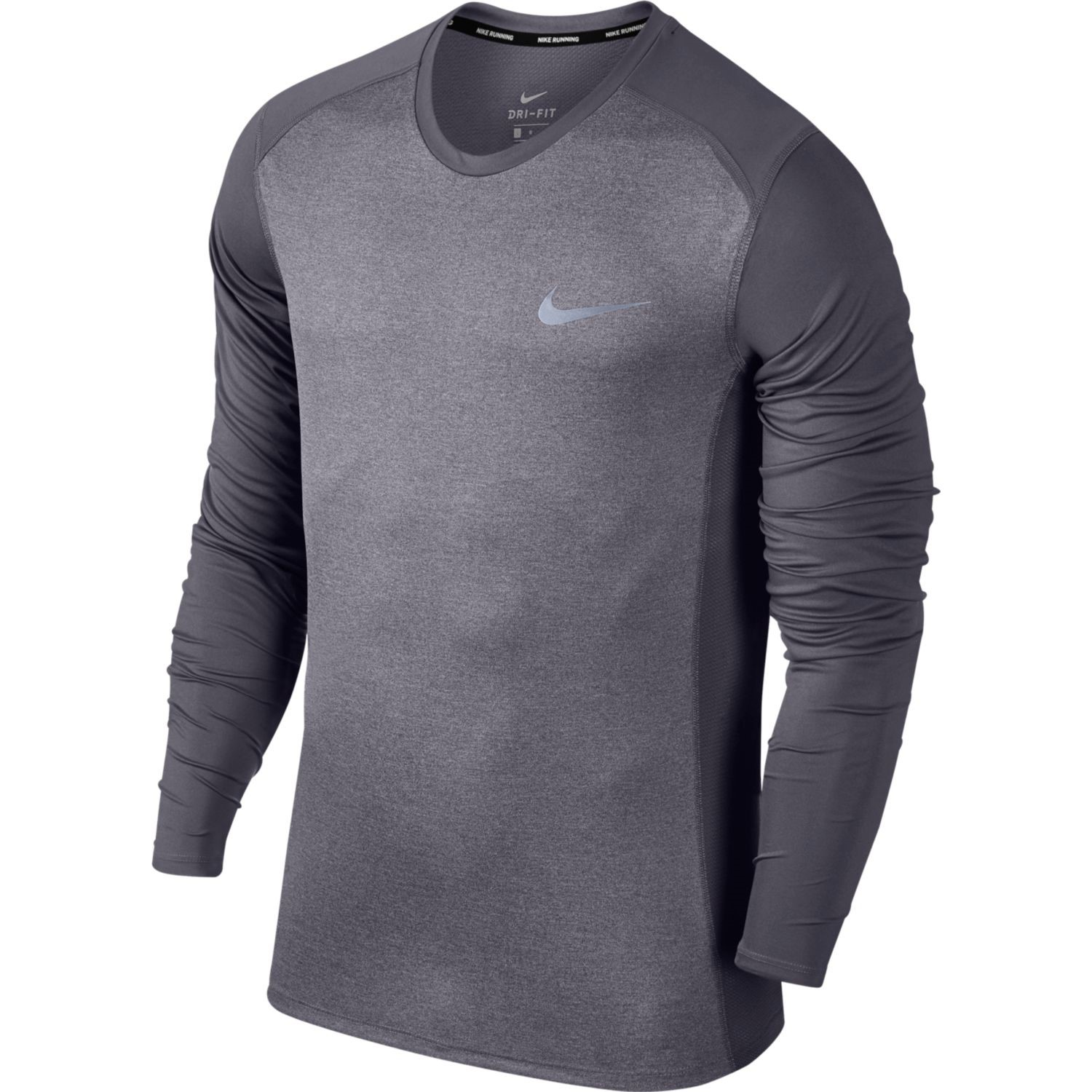 bd3bf8db Nike Dry Miler Mens Long Sleeve Running Top - Gridiron Grey/Heather ...
