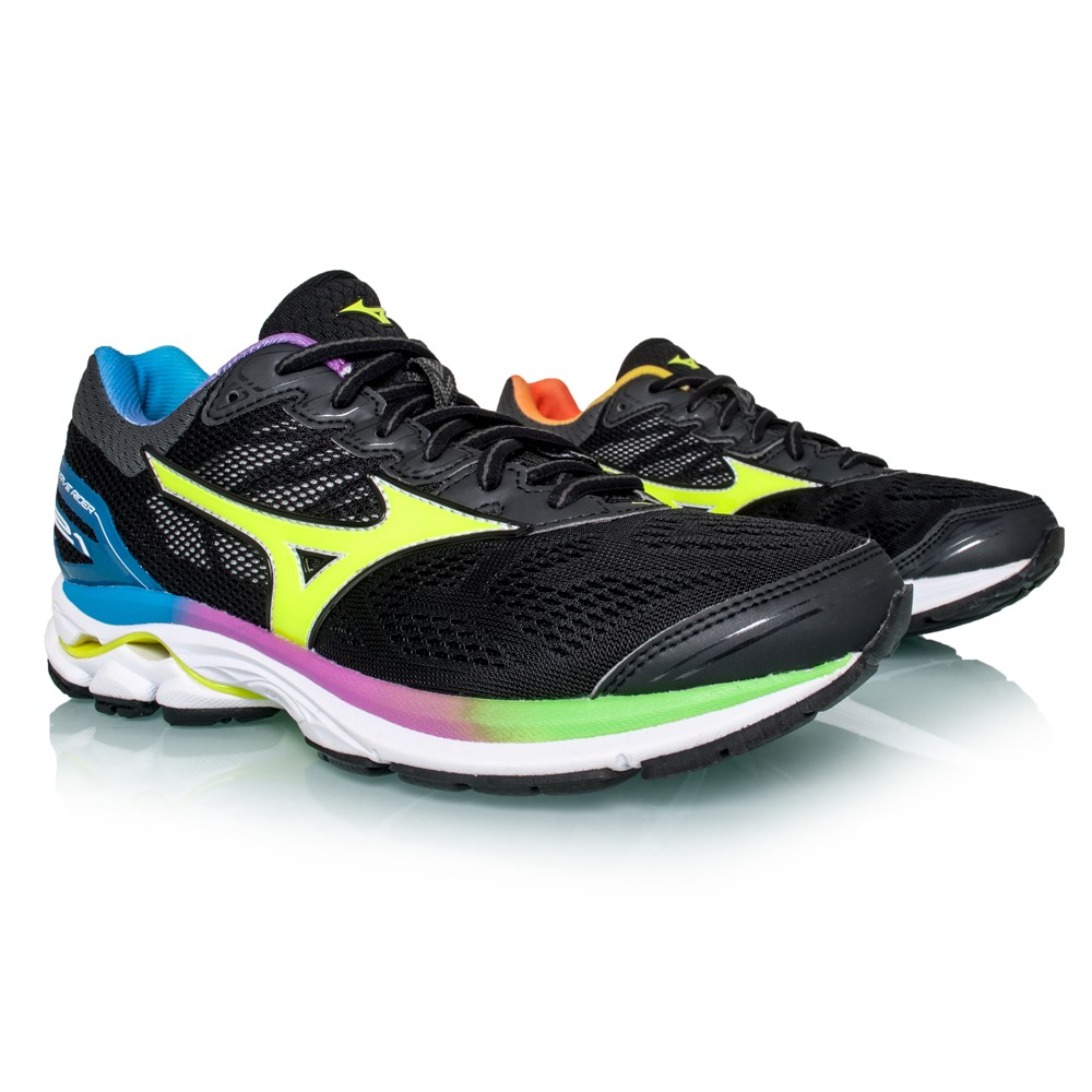50bf3f52ec9c Mizuno Wave Rider 21 Osaka Marathon LE - Womens Running Shoes -  Black/Safety Yellow