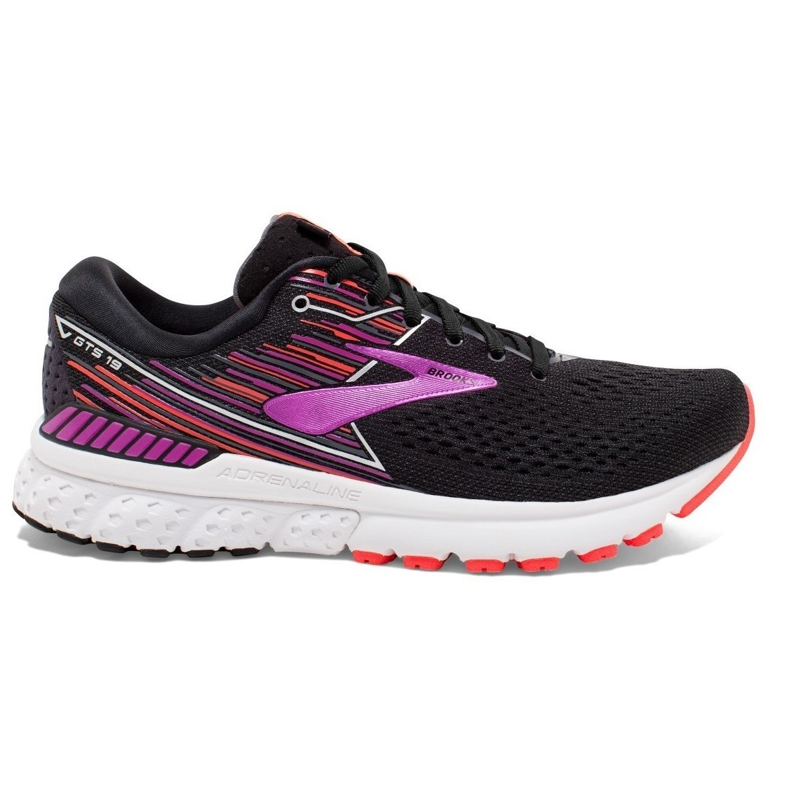 2581f70945bf Brooks Adrenaline GTS 19 - Womens Running Shoes - Black Purple Coral ...