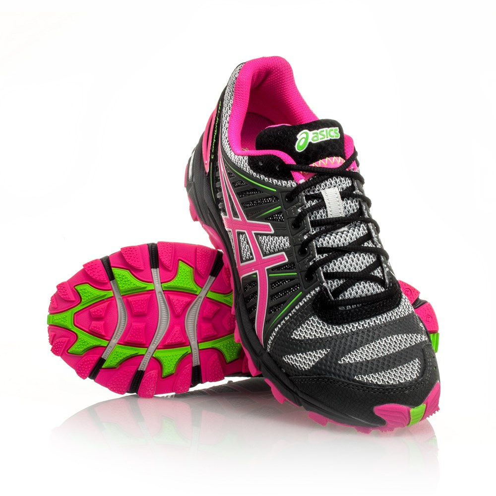 asics gel fuji trabuco 2 womens trail running shoes grey neon pink neon green online. Black Bedroom Furniture Sets. Home Design Ideas