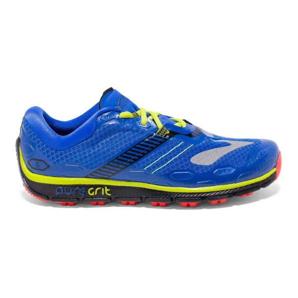 Brooks PureGrit 5 - Mens Trail Running Shoes - Blue/Black/Lime