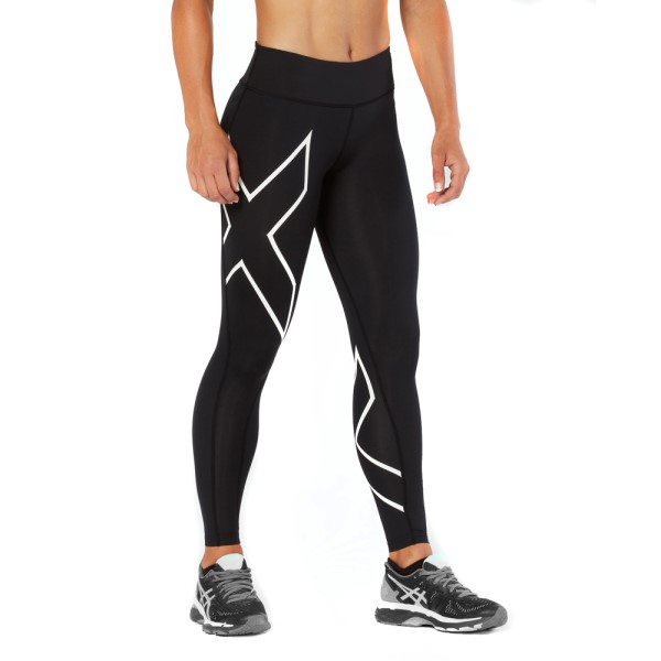 2XU Mid-Rise Womens Full Length Compression Tights - Black/White