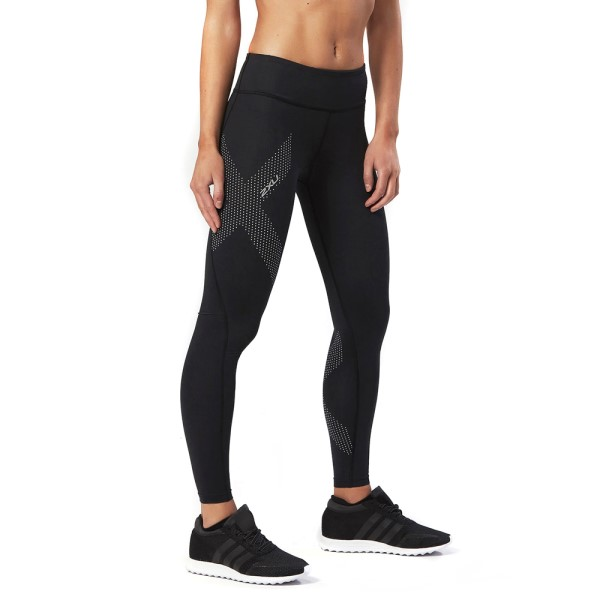 2XU Mid-Rise Womens Full Length Compression Tights - Dotted Reflective Logo