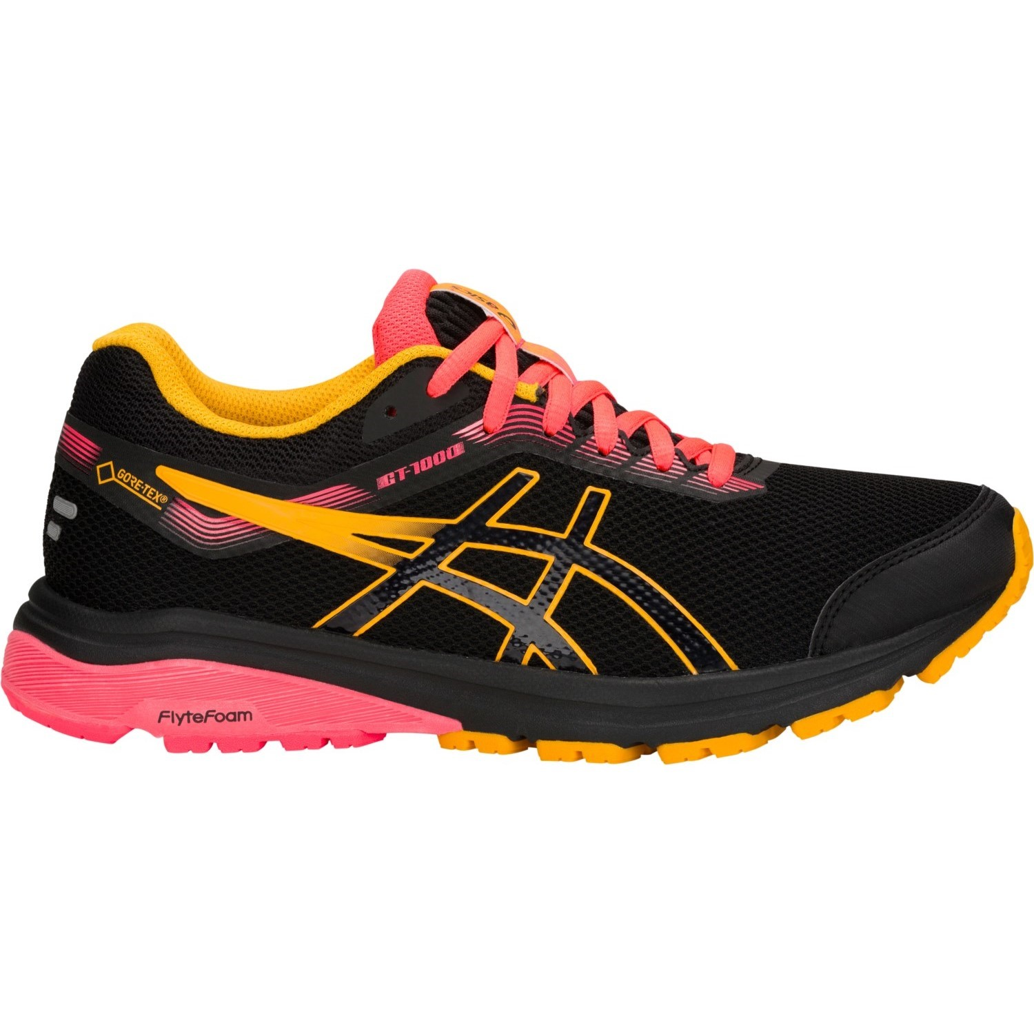 061c89e0eaba9 Asics GT-1000 7 GTX - Womens Running Shoes - Black/Amber/Pink ...
