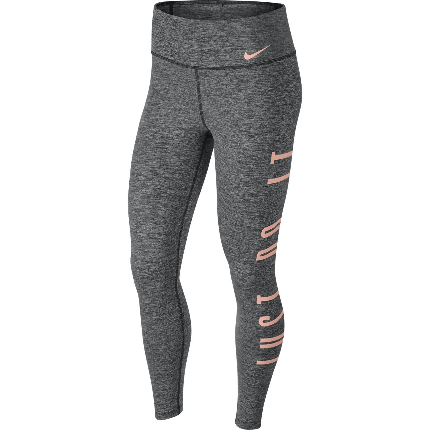 the latest b7091 4a9f9 Nike Mid-Rise Graphic Power Womens Training Tights - Black Heather Storm  Pink