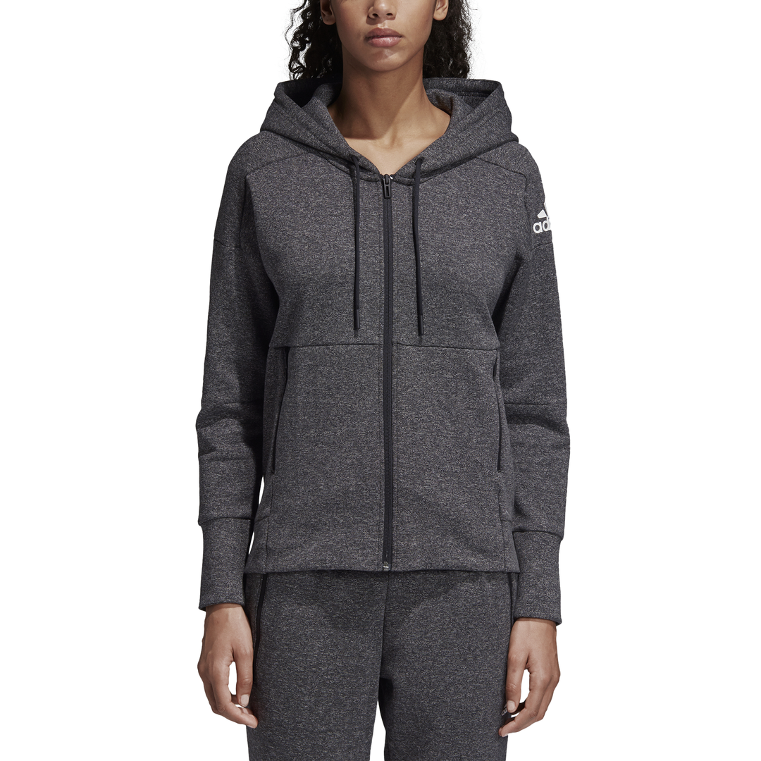 Adidas ID Stadium Womens Casual Hoodie - Stadium Heather Black ... 7c70509347