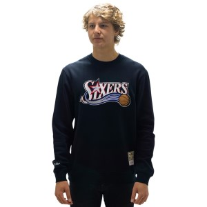Mitchell & Ness Philadelphia 76ers Wordmark Emblem Mens Basketball Sweatshirt