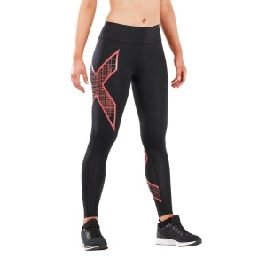 2XU Bonded Mid-Rise Womens Compression Tights - Black/Scribe Spiced Coral