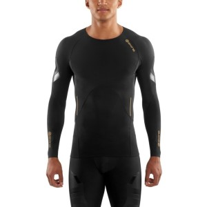 Skins A400 Mens Compression Long Sleeve Top (2017) - Oblique + Free Gym Bag