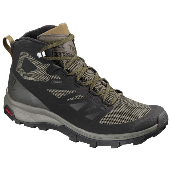 Salomon Outline Mid GTX - Mens Trail Hiking Shoes - Black/Beluga/Capers