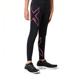 2XU Kids Girls Compression Long Tights - Black/Hot Pink