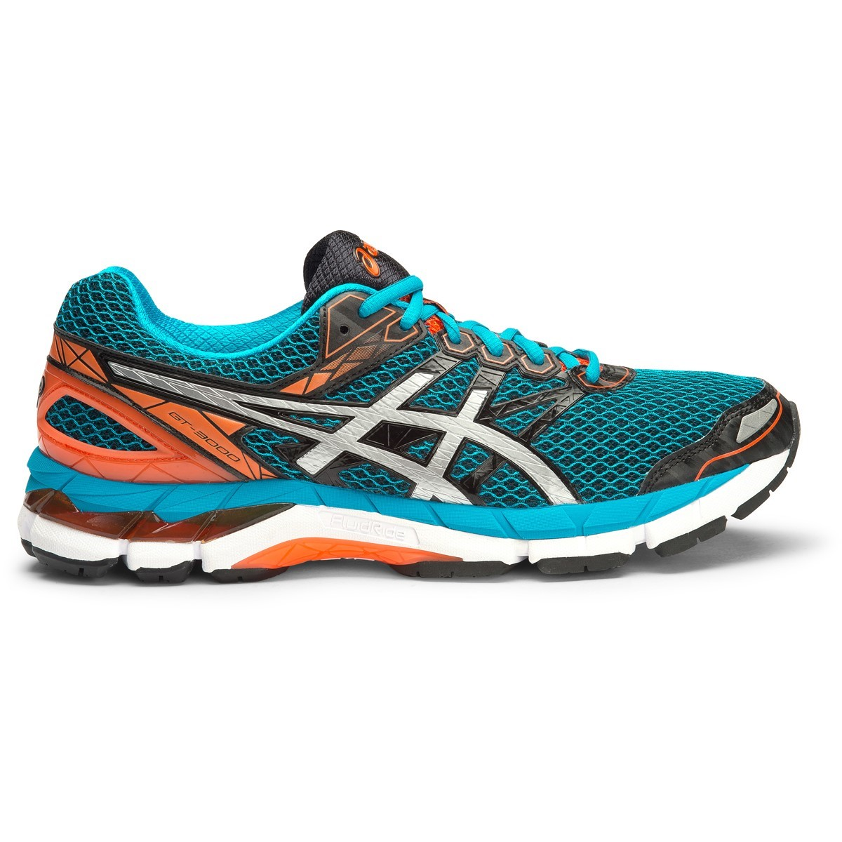 asics gt 3000 4 mens running shoes black silver blue. Black Bedroom Furniture Sets. Home Design Ideas